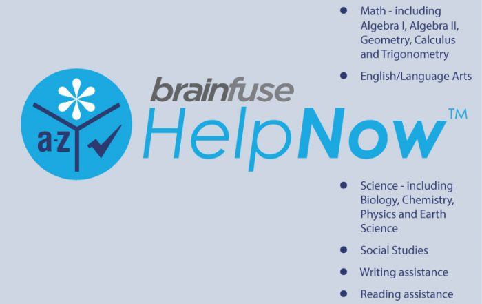 Brainfuse/HelpNow! list of subjects for tutoring.