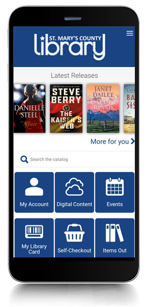 Image of St. Mary's County Library's mobile app
